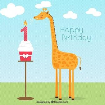 Girafa cartão de aniversário do plano