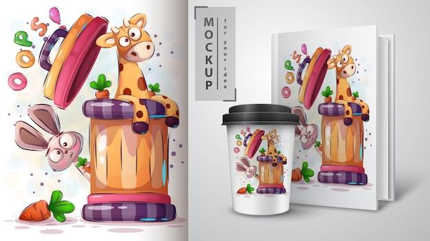 Girafa, cartaz de coelho e merchandising