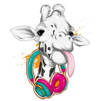 Girafa com fones de ouvido. animais selvagens.