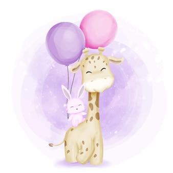 Girafa de amizade e coelho com balões