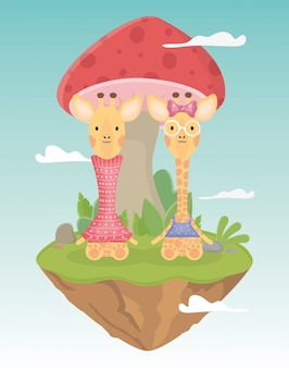Girafa de casal com roupas e cogumelo fantasia de conto de fadas