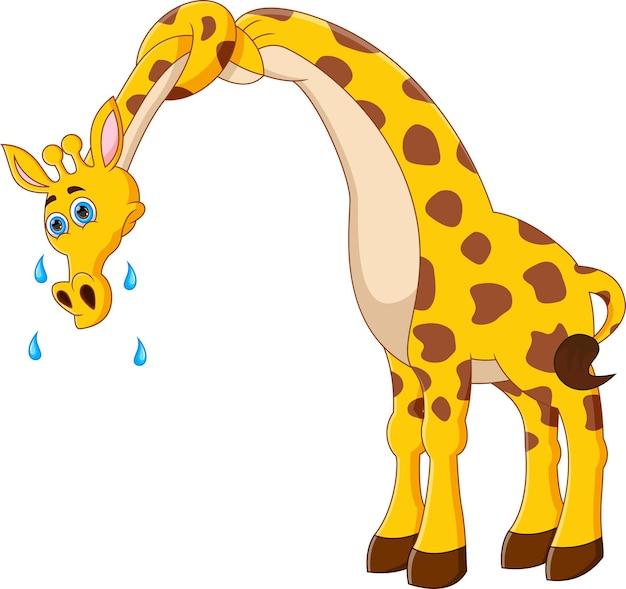 Girafa de desenho animado com pescoço torcido