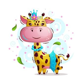 Girafa de menina princesa bonito na coroa