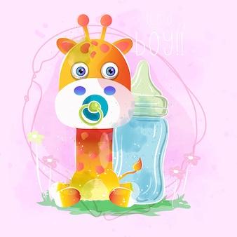 Girafa de menino bebê fofo