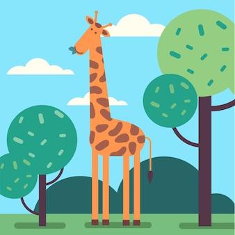 Girafa de pé alto e comendo algumas folhas de árvore