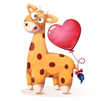 Girafa de peluche engraçada com balão do coração