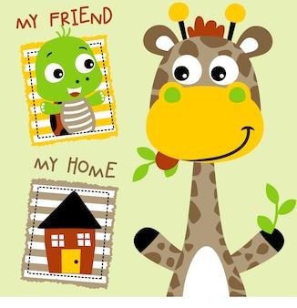 Girafa e amigo com uma casa