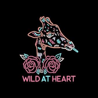 Girafa e flores coloridas vintage retro animal design selvagem no coração