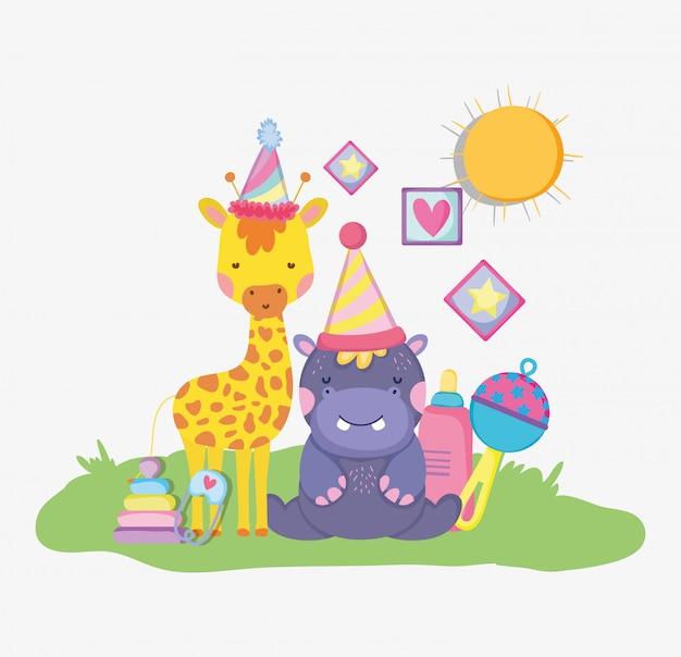 Girafa e hipopótamo com chapéu de festa para chá de bebê