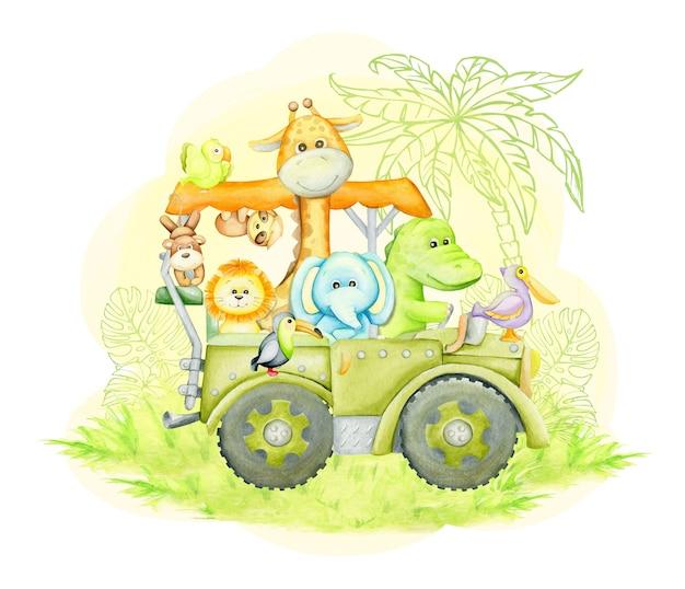 Girafa, elefante, crocodilo, tucano, leão, macaco, preguiça, viajando em um jipe. ilustração em aquarela