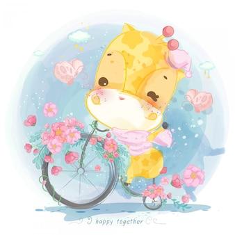 Girafa em aquarela em uma bicicleta com flores