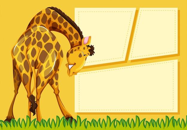 Girafa em fundo de nota