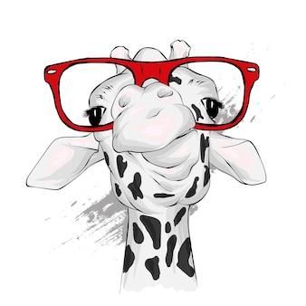 Girafa engraçada com óculos