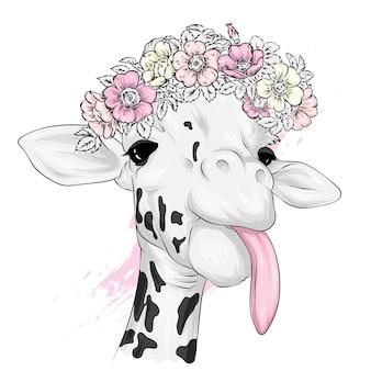 Girafa engraçada em uma coroa de flores