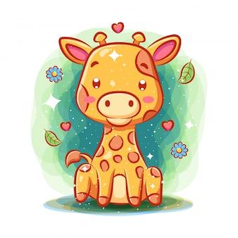 Girafa fofa brincar no jardim