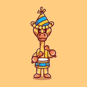 Girafa fofa celebra o ano novo tocando bateria