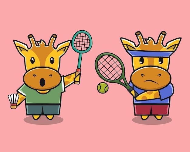 Girafa fofa jogando badminton e desenho animado de tênis