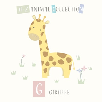Girafa gira cartoon doodle alfabeto animal g