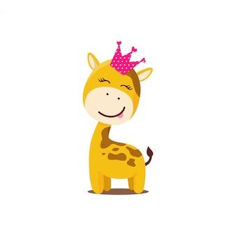Girafa gira desenhada de mão