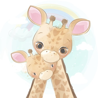 Girafa gira mãe e bebê