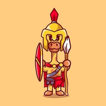 Girafa gladiador espartano com escudo e lança