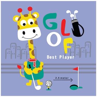 Girafa jogando golfe engraçado animal dos desenhos animados, ilustração vetorial