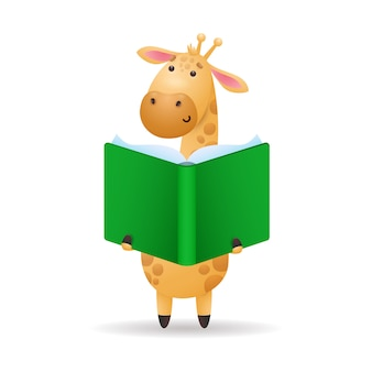 Girafa, leitura, livro, ilustração