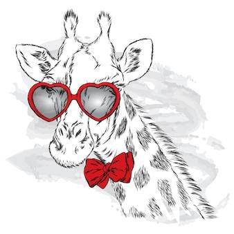 Girafa linda em óculos elegantes