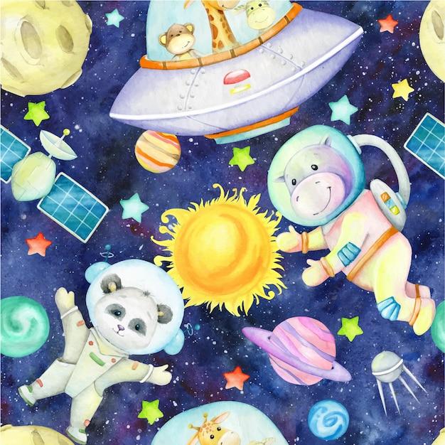 Girafa, macaco, zebra, hipopótamo, panda, naves espaciais, planetas, estrelas, aquarela, céu espacial. padrão sem emenda em aquarela.