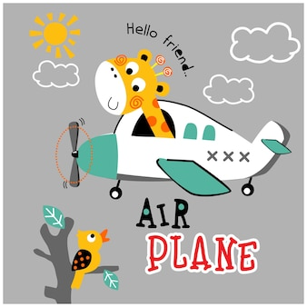 Girafa no avião desenho animado animal