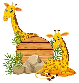 Girafa no bannner de madeira