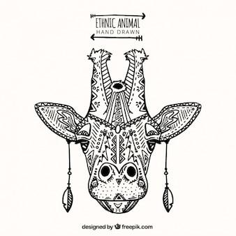 Girafa ornamental no estilo étnico