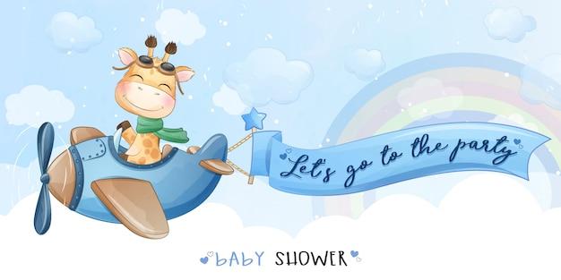 Girafa pequena bonita voando com ilustração de avião