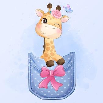 Girafa pequena bonitinha sentada dentro da ilustração de bolso