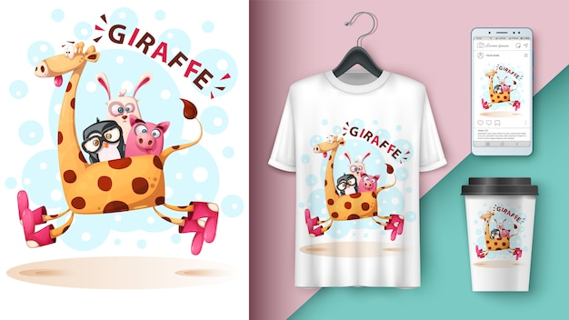 Girafa, pinguim, coelho, porco - maquete para sua ideia