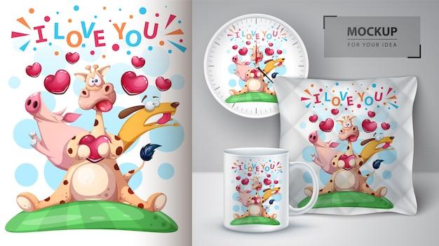 Girafa, porco, ilustração do cão