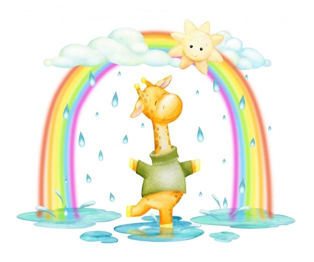 Girafa, pulando, na chuva e arco-íris, aquarela, clip-art, em estilo cartoon.