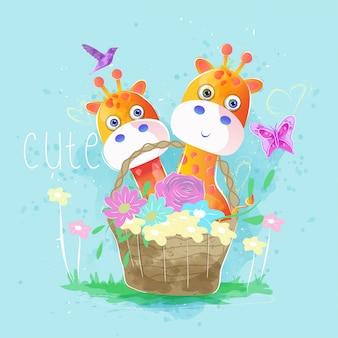 Girafas bonitos na cesta de primavera
