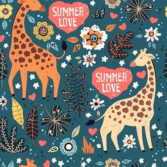 Girafas com plantas tropicais e flores padrão