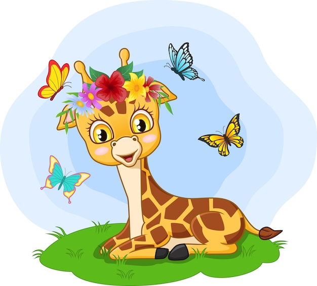 Girafinha bonitinha sentada na grama