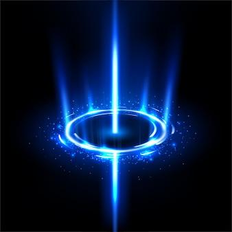 Girando raios azuis como um buraco negro com brilhos