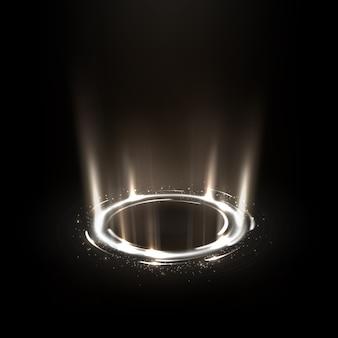 Girando raios brancos com brilhos