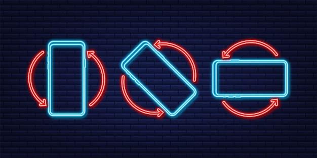 Girar ícone isolado de smartphone ícone de néon símbolo de rotação do dispositivo