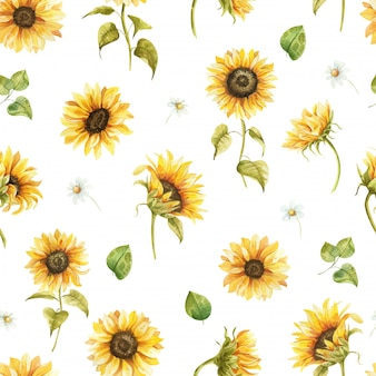 Girassóis aquarela sem costura padrão flores desenhadas à mão