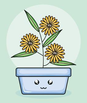 Girassóis de plantas de jardim em personagem de kawaii pote quadrado