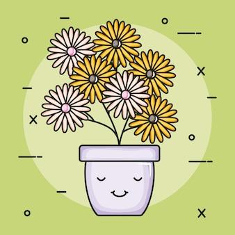 Girassóis de plantas de jardim em personagem de kawaii pote