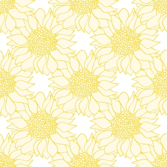 Girassóis flores padrão sem emenda nas cores amarelas e brancas. ilustração vetorial