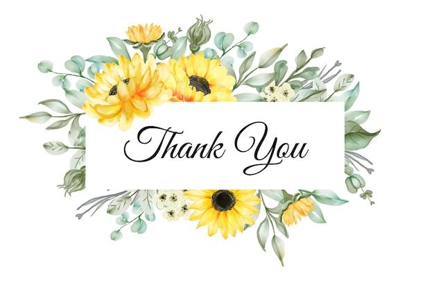 Girassol amarelo aquarela na saudação bandeira de agradecimento