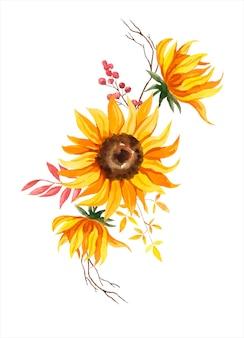 Girassol aquarela com galhos e folhas secas