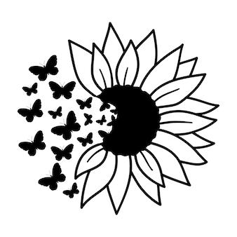 Girassol e borboletas desenho de contorno ilustração em vetor linha